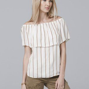 WHBM OFF-THE-SHOULDER STRIPE BLOUSE